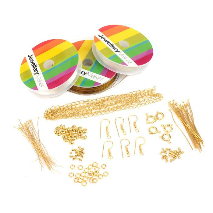 Jewellery Maker Essentials Inc Gold Plated Findings (Approx 100pcs) & Threading Pack