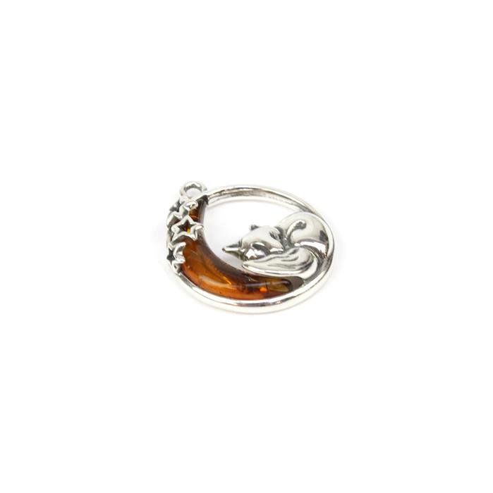 Baltic Cognac Amber Fox & Moon Sterling Silver Pendant Approx 22x19mm