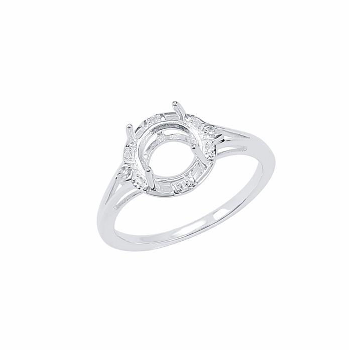 Size 9- 925 Sterling Silver Ring Round Mount Fits 8mm Inc. 0.04cts White Topaz Brilliant Cut Rounds 1mm.