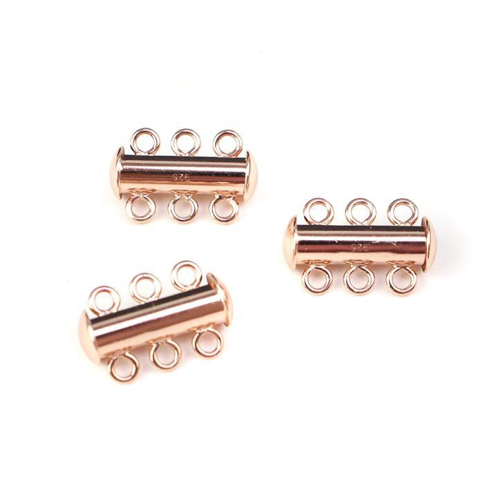 Rose Gold Plated 925 Sterling Silver Three Rows Clasps Approx 17x11mm 3pcs