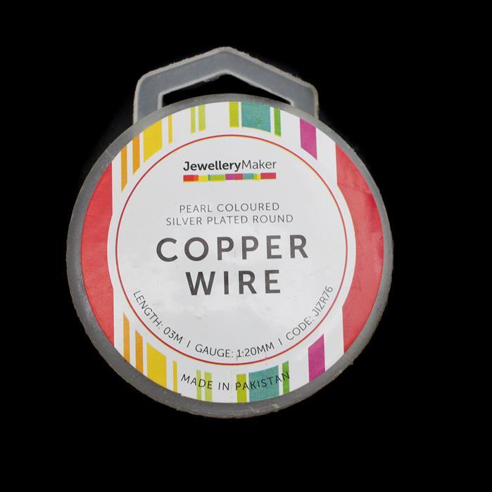 3m Pearl Coloured Silver Plated Copper Wire 1.20mm