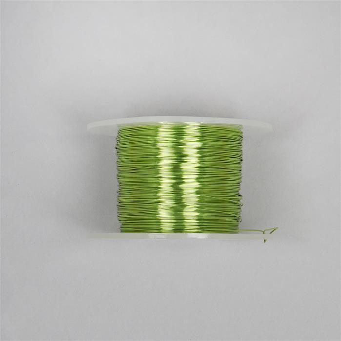 100m Chartreuse Colour Silver Plated Copper Wire 0.6mm