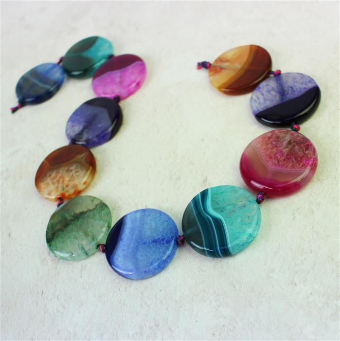 800cts Multi-colour striped Agate Puffy Coins with quartz Appox 35mm, 38cm strand