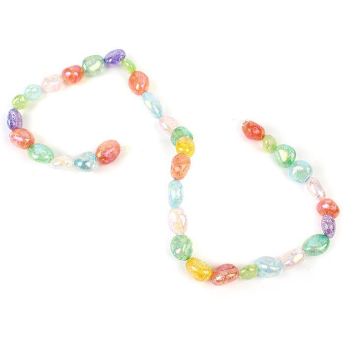 230cts Rainbow Coated Crackled Multi-Colour Quartz Nuggets Approx 10x8mm-18x11mm, Approx 38cm strand