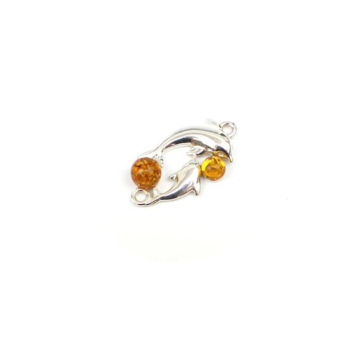 Baltic Cognac Amber Dolphin Connector Approx 20mm Sterling Silver