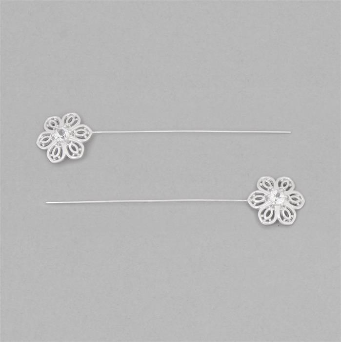 925 Sterling Silver Gemset Fancy Headpin Approx 64x13mm Inc. 0.68cts White Topaz Brilliant Round Approx 4mm, Wire Thickness Approx 0.6mm (2pcs)