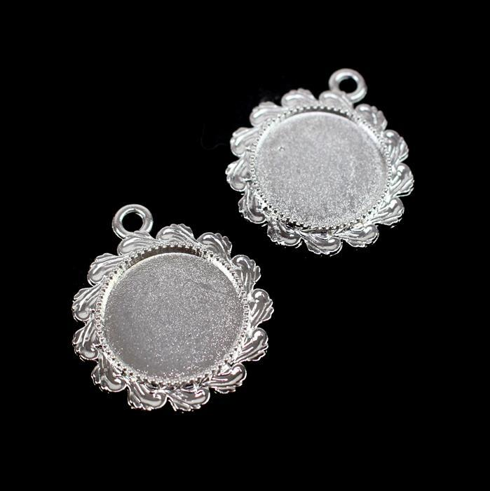 Silver Colour Fancy Round Bezel Pendant Approx 26mm (Set of 2)