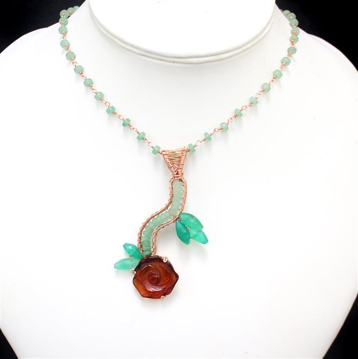 Floral:Baltic Cognac Amber Rose 20-25mm,Green Aventurine wheels,Green Onyx rice beads,wire