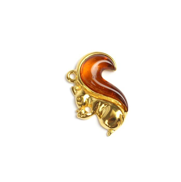Baltic Cognac Amber Squirrel Pendant Gold Plated Sterling Silver Approx 22x14mm