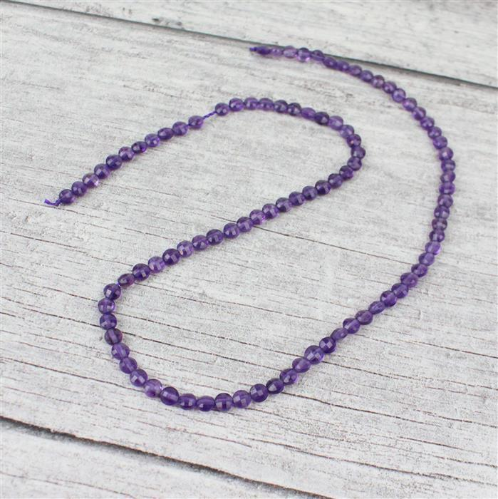 20cts Amethyst Faceted Coins Approx 4mm, 38cm strand