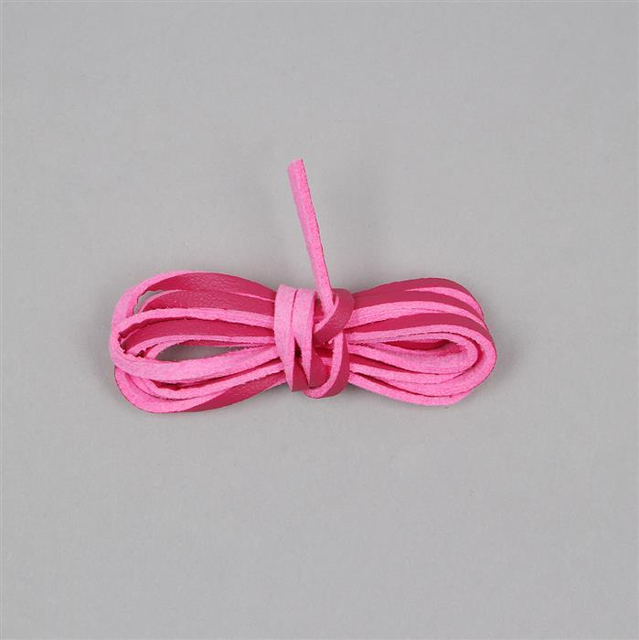 1M Neon Pink Leatherette Flat Cord Approx 2x1mm