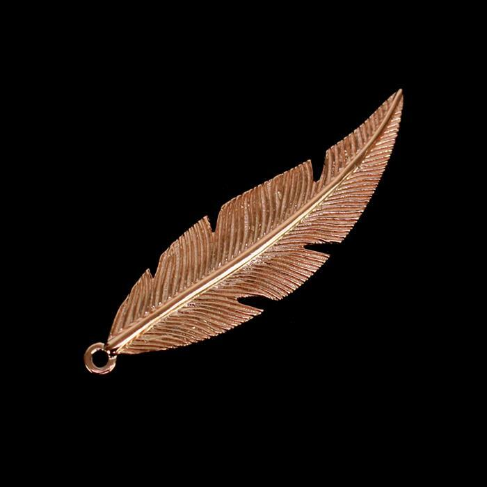 Rose Gold Plated 925 Sterling Silver Fine Detail Feather Pendant, Approx 35x10mm, 1pc