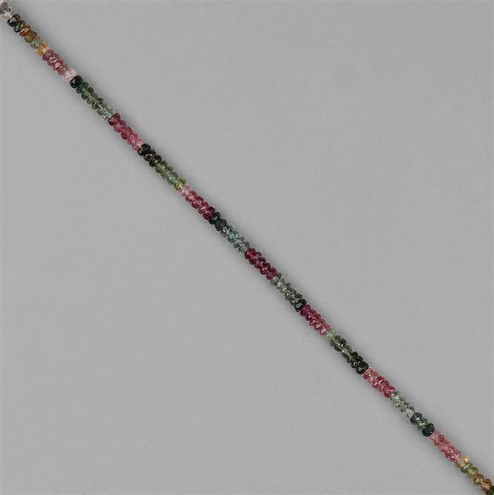 18cts Multi Tourmaline Faceted Rondelles Approx 3x2mm, 18cm Strand.