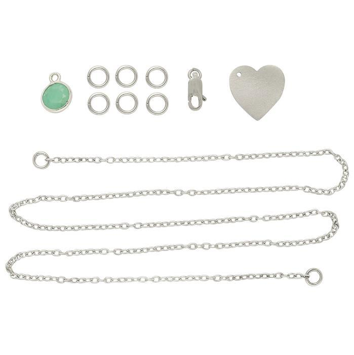 Birthstone Kit: 925 Sterling Silver Necklace Kit Inc. 1.48cts Emerald Charm (10 Pcs)