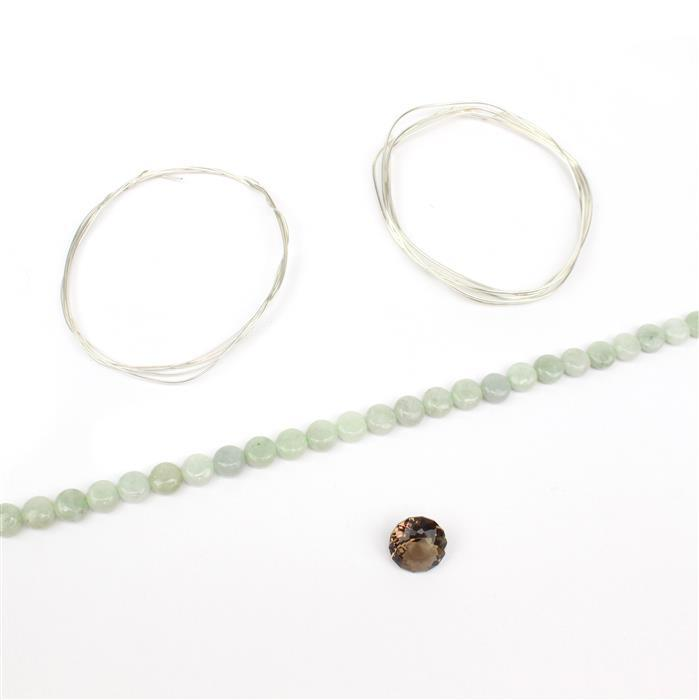 Tears of Joy INC 90cts Burmese Jadeite Puffy Coins, 8cts Smokey Quartz Cut Round, 925 wire
