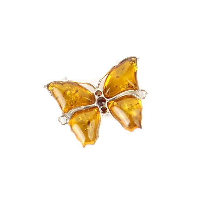 Baltic Cognac Amber Fancy Butterfly Connector with 925 Sterling Silver Element Approx 25x19mm