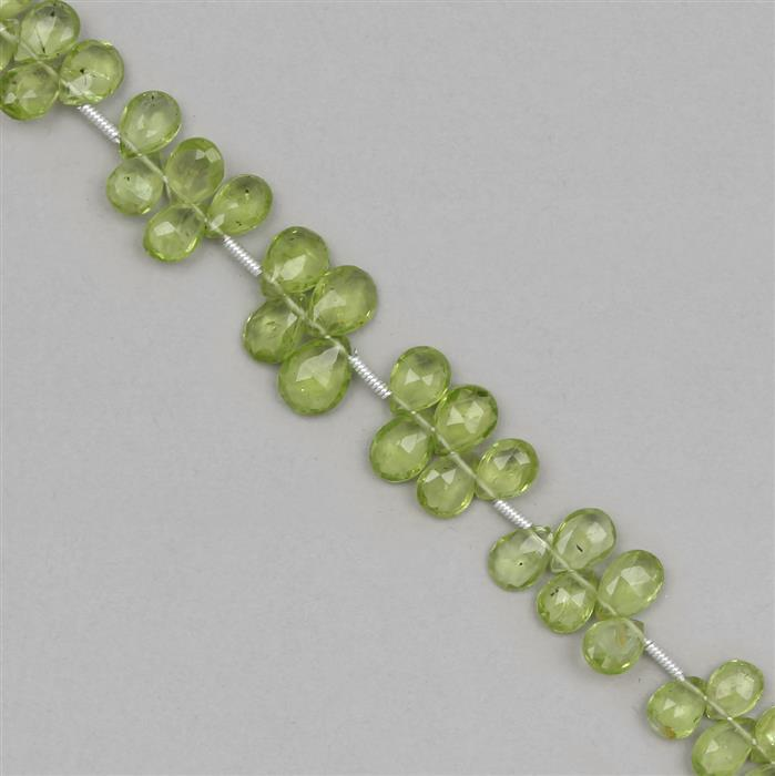 40cts Peridot Graduated Faceted Pears Approx 4x3 to 8x5mm, 18cm Strand.