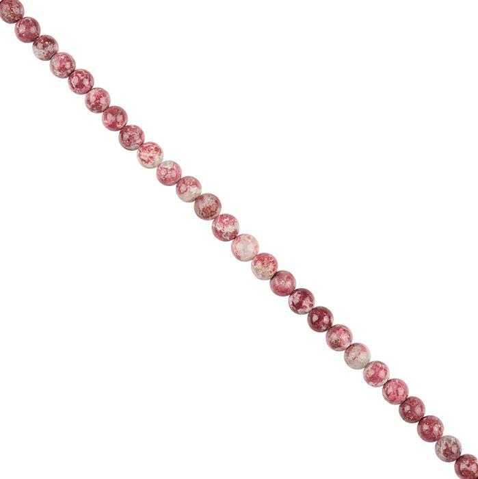 58cts Thulite Plain Rounds Approx 6mm, 18cm Strand.