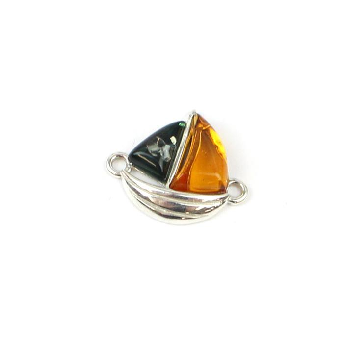 Baltic Multi-Colour Amber Sailboat Connector Approx 14x18mm Sterling Silver