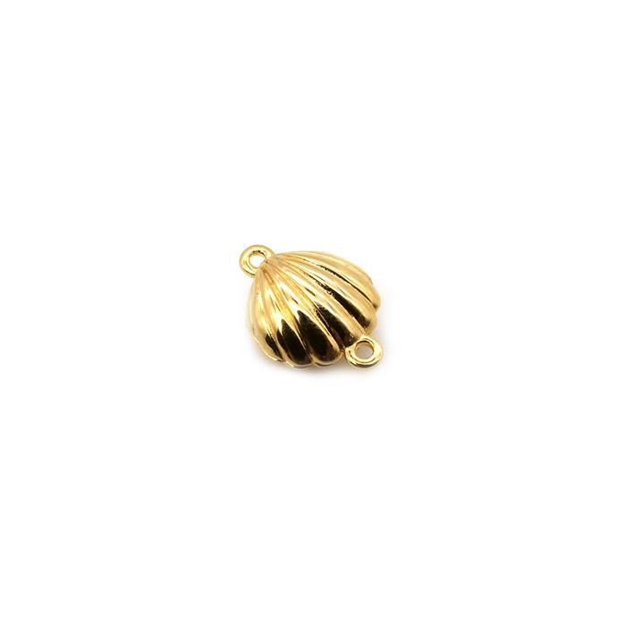 Gold Plated 925 Sterling Silver Scalloped Shell Magnetic Clasp Approx 12x16mm 1pk