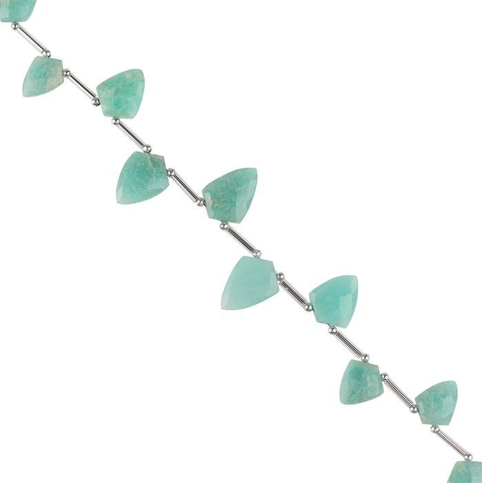 48cts Amazonite Graduated Faceted Shields Shape Approx 11x8 to 16x11mm, 16cm Strand.