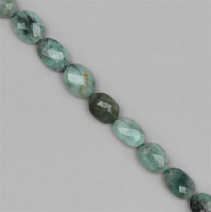 110cts Emerald Graduated Faceted Ovals Approx 7x5 to 15x10mm, 27cm Strand.