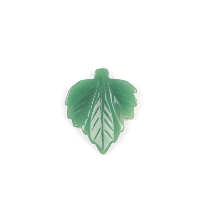 70cts Green Aventurine Leaf Pendant Approx 50x42mm