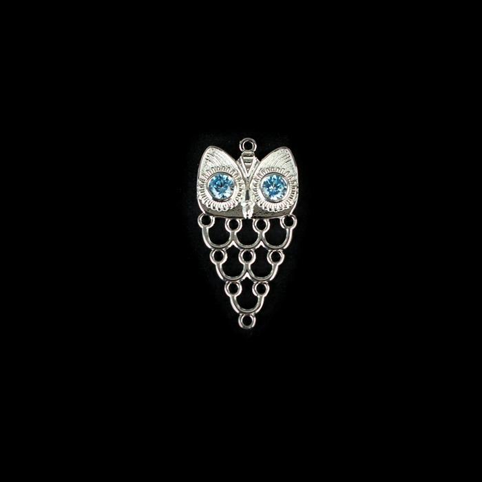 925 Sterling Silver Owl Frame with Blue Cubic Zirconia Eyes, Approx 27x15mm, 1pc