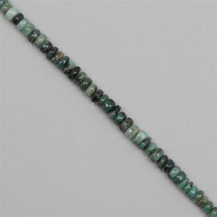 40cts Emerald Graduated Plain Rondelles Approx 2x1 to 5x2mm, 18cm Strand.