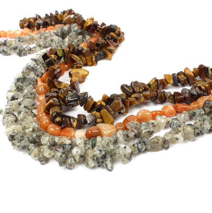 Golden Brown: A great nuggets mix of Yellow Tigers Eye, Black Rutile & Red Aventurine