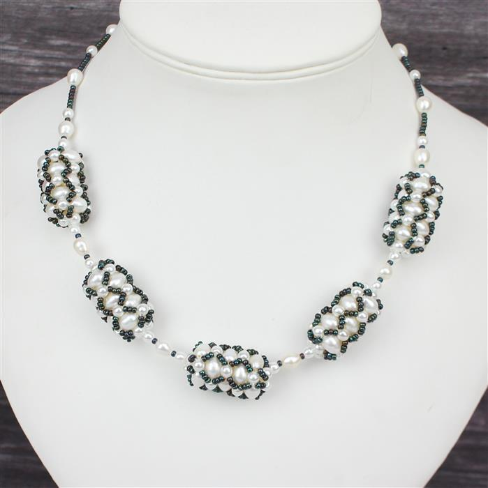 Pearly Queen: 1m white cultured pearls,4mm white glass pearls 120 x2, Bronze 11/0 & clasp