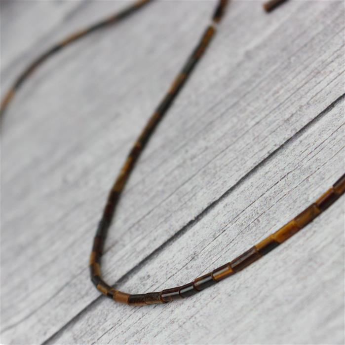 10cts Tigers Eye Tubes Approx 2x4mm, Approx 38cm strand
