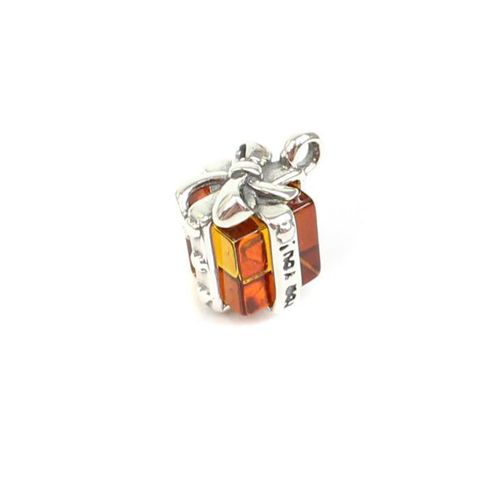 Sterling Silver Baltic Cognac Amber Gift Box Charm Approx 7x10mm