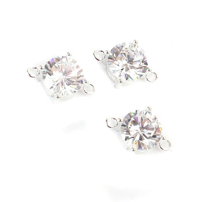 925 Sterling Silver Cubic Zirconia Connector Approx 14.5mm, 3pcs