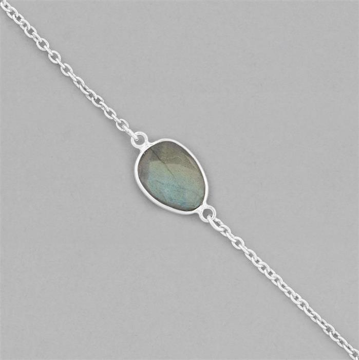 925 Sterling Silver Gemstone Bezel Chain Approx 19x10mm Inc. 15cts Labradorite Fancy Shape Briolette Cut, Length Approx 70cm