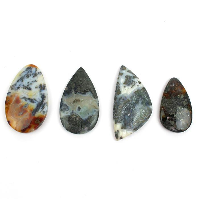 Double Trouble 2x 98cts Marcasite Agate Multi Shape Cabochons. (Pack of 2)