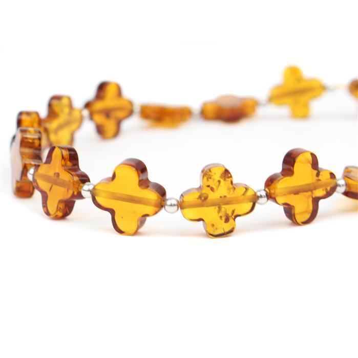 Baltic Cognac Amber Flower Beads Approx 10mm, 20cm Strand Inc. Sterling Silver Spacers
