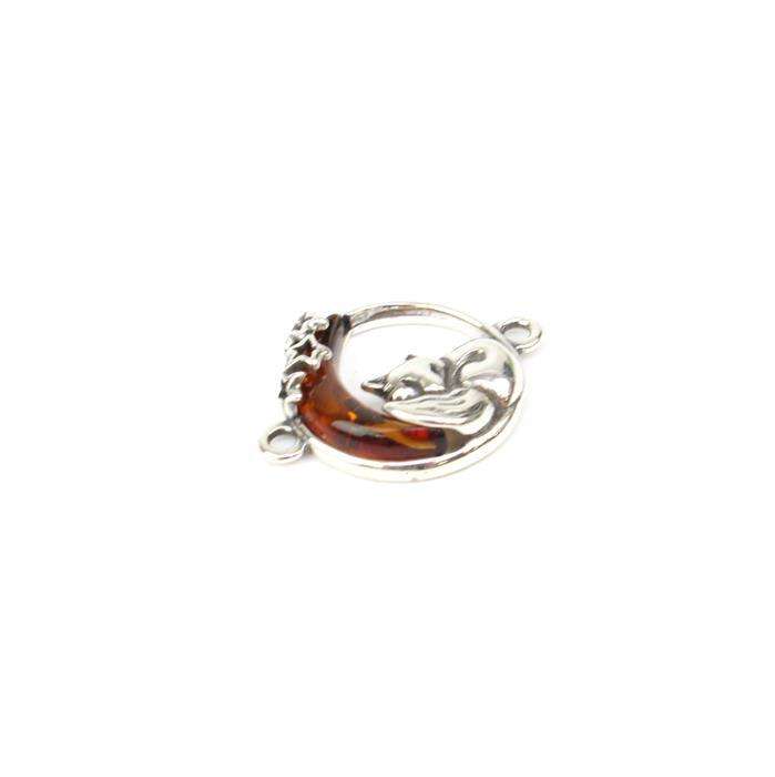 Baltic Cognac Amber Fox & Moon Sterling Silver Connector Approx 20x15mm