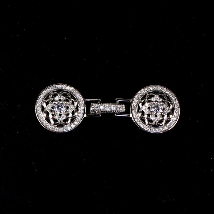 925 Sterling Silver Round Clasp With CZ Approx 40x14mm, 1pc