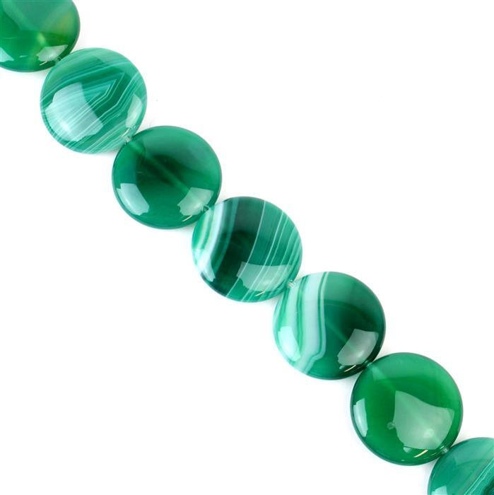 500cts Green Stripe Agate Puffy Coins Approx 25mm, 38cm/strand