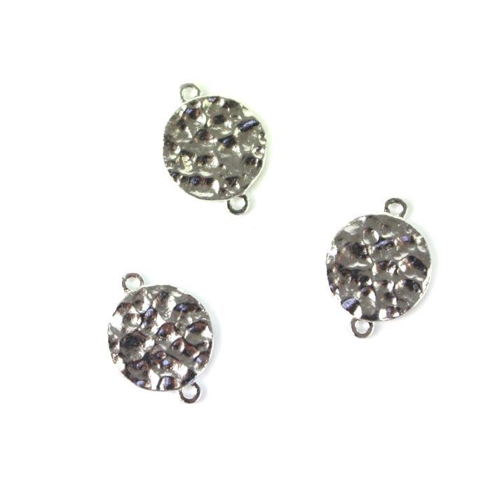 925 Sterling Silver Hammer Effect Round Connectors Approx 10x14mm 3pcs