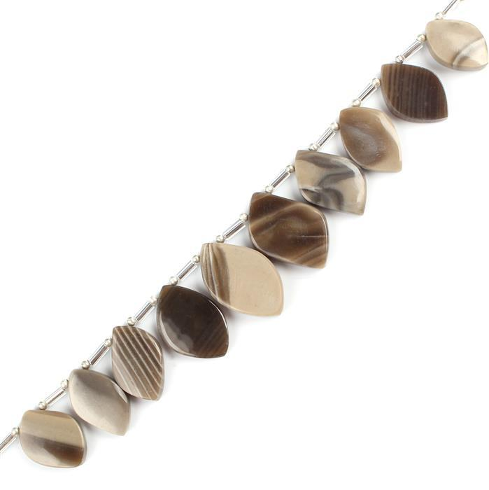 80cts Flintstone Graduated Plain Fancy Leafs Approx 14x10 to 21x13mm, 10cm Strand.