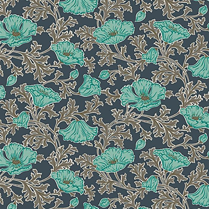 Liberty Beatrice Poppy in Teal Fabric from Winterbourne House Range 0.5m
