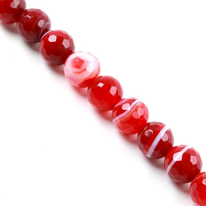 340cts Red Stripe Agate Faceted Rounds Approx 12mm, Approx 38cm/strand