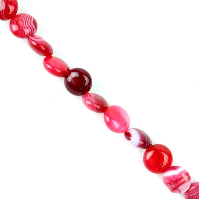130cts Cerise Stripe Agate Puffy Coins Approx 10mm, 38cm/strand