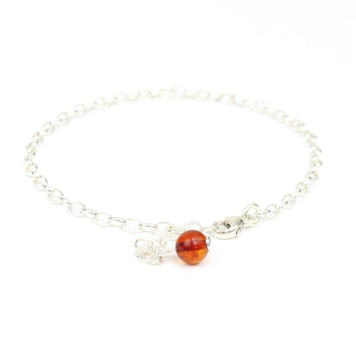 "925 Silver Chain Charm Bracelet with Baltic Cognac Amber Round Bead Approx 6mm 7"" with 1.5"" extender"