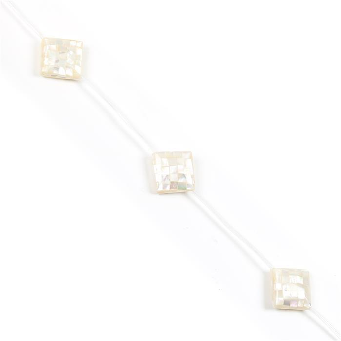 White Shell Mosaic Puffy Diamonds Approx 23mm, 5 pcs