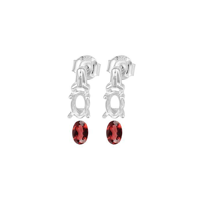 925 Sterling Silver Earrings Mount Fits 6x4mm Inc. 0.80cts Garnet Brilliant Oval 6x4mm. (1 Pair)