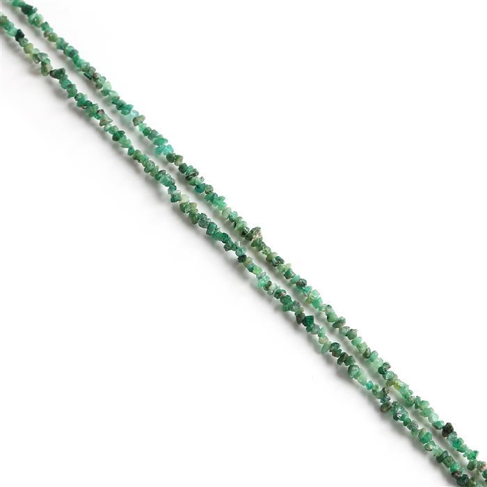 60cts Emerald Plain Nuggets Approx 2x1 to 5x2mm, 84cm Strand