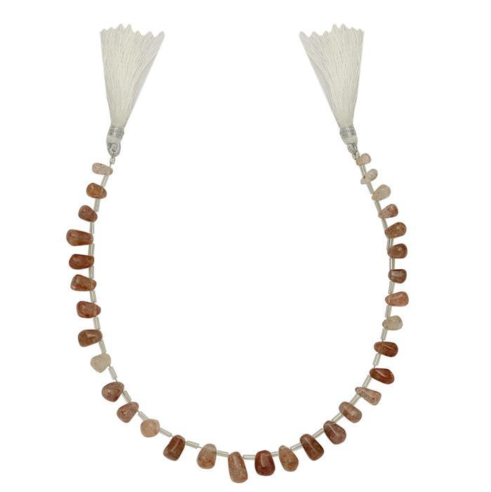 80cts Sunstone Graduated Irregular Plain Drops Approx From 6x3 to 11x7mm, 28cm Strand.